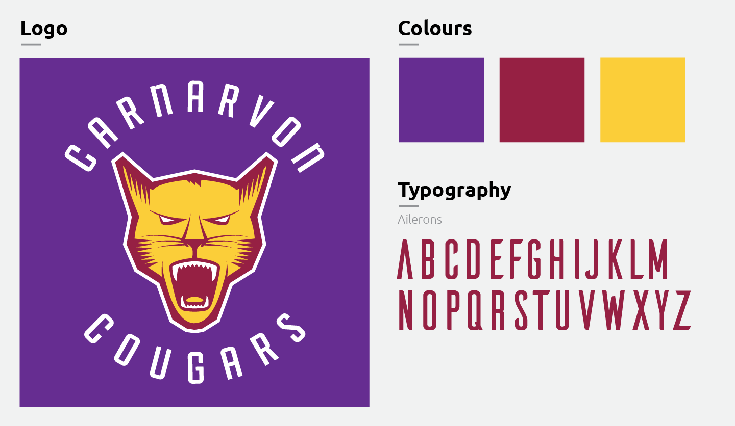 Branding components of the Carnarvon Cougar, including the logo, font, and colours.