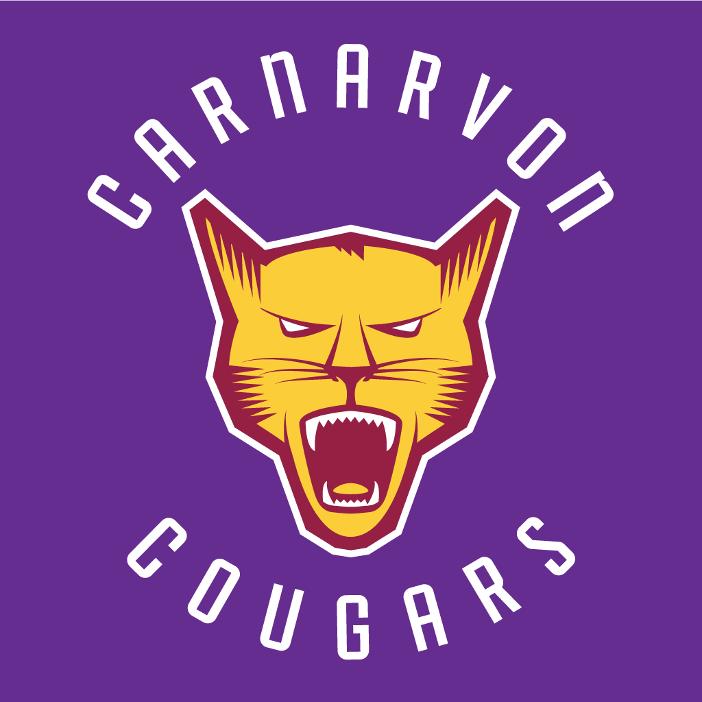 The new Carnarvon Community School logo, featuring a vicious cougar encircled by the words 'Carnarvon Cougars'.