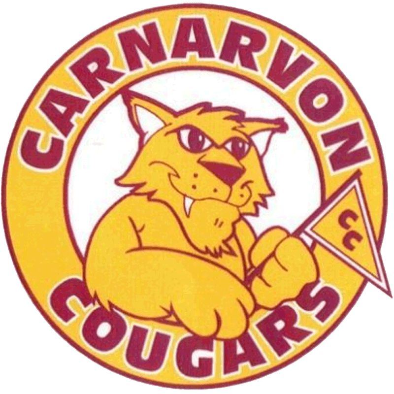 The old Carnarvon Community School logo, featuring a cartoon cougar waving a flag encircled by the words 'Carnarvon Cougars'.