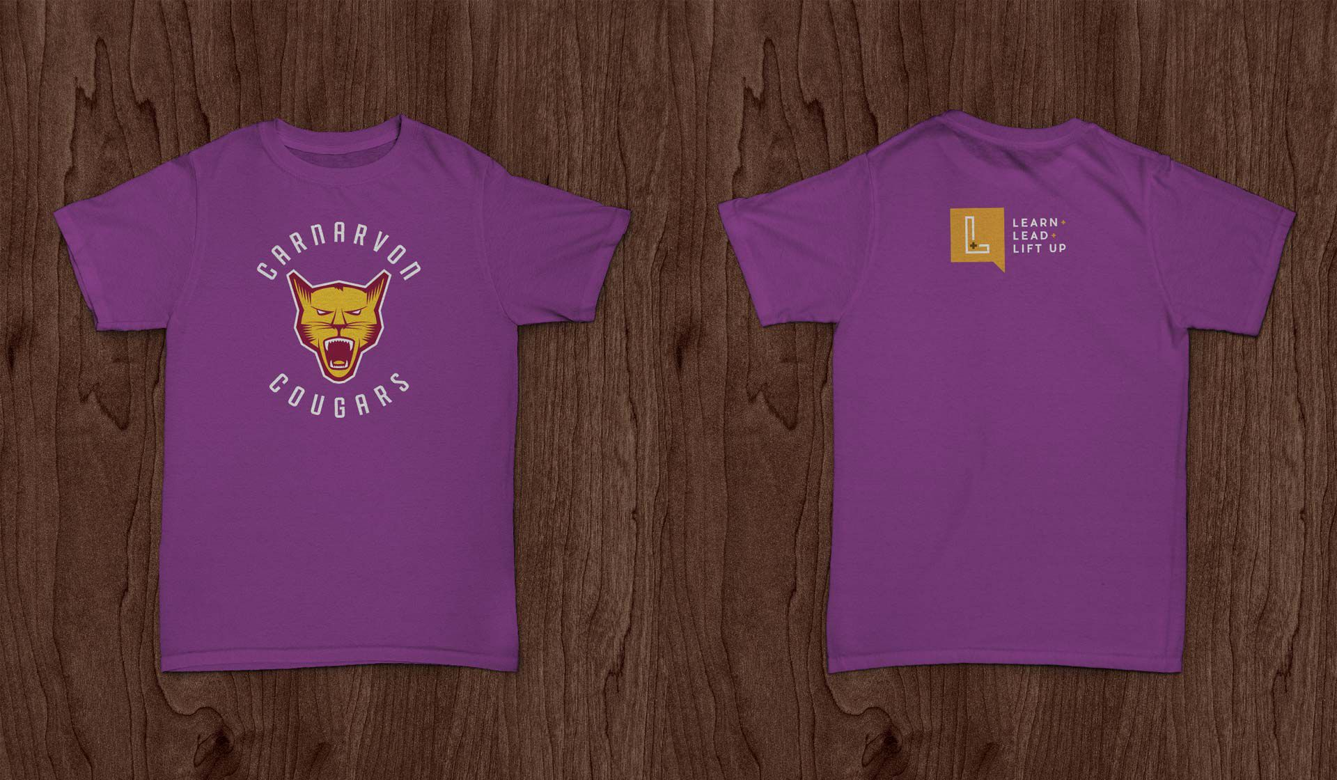 Front and back mockups of the soon-to-be-produced Carnarvon Cougars t-shirts.