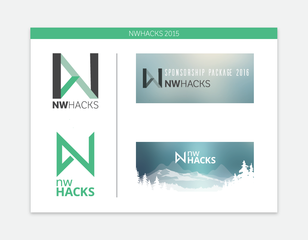 nwHacks 2015's two logos on the left, and competing visual styles on the right.