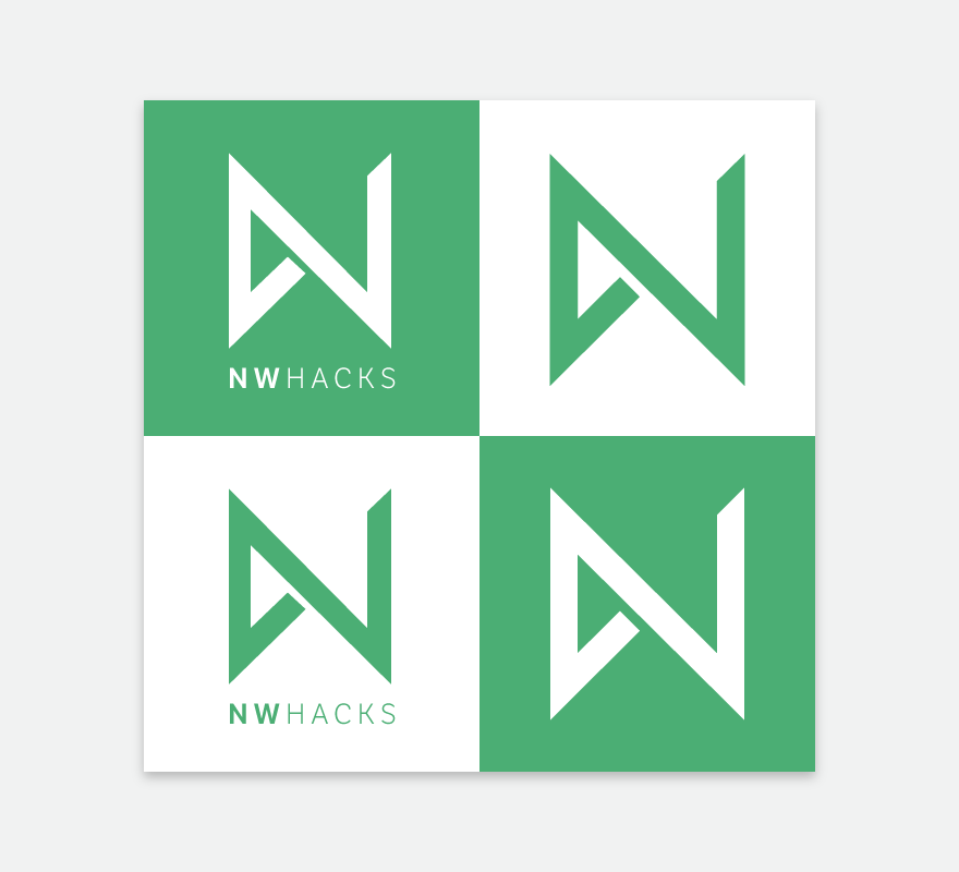 Four treatments of the nwHacks logo - green on white, white on green, each with and without the nwHacks logotype underneath.