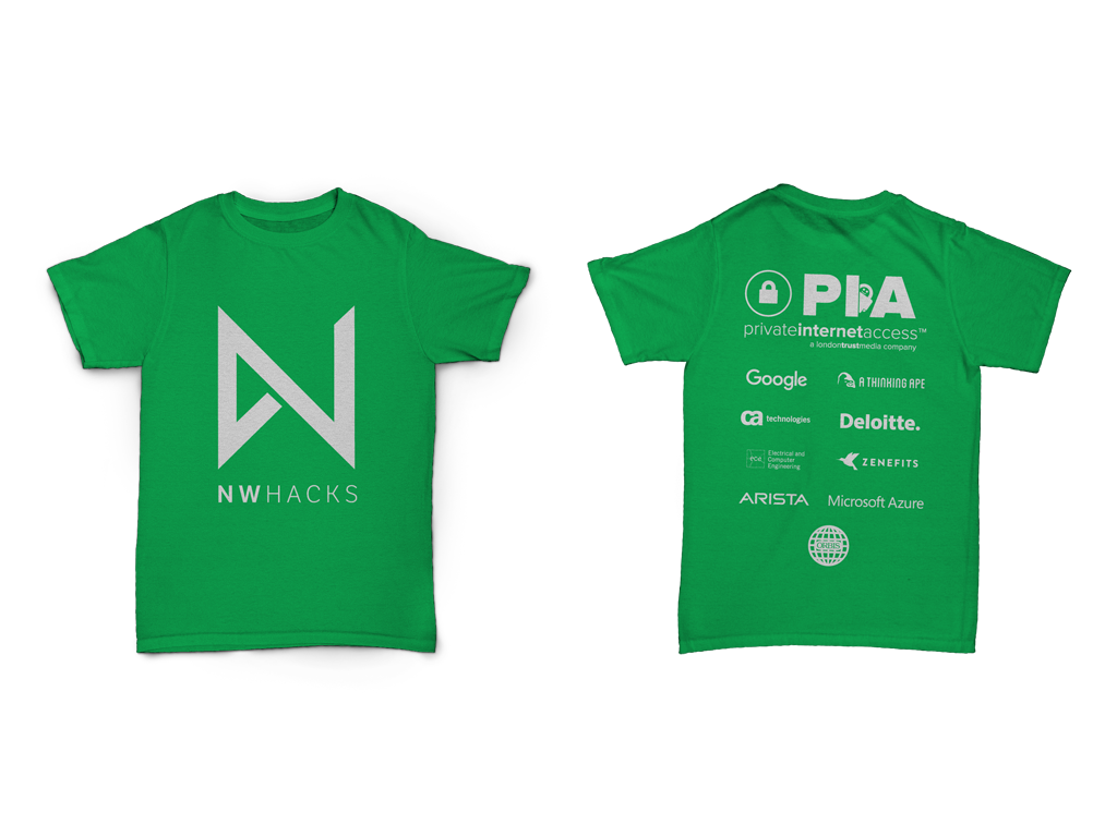 The front and back of the nwHacks 2016 t-shirts.