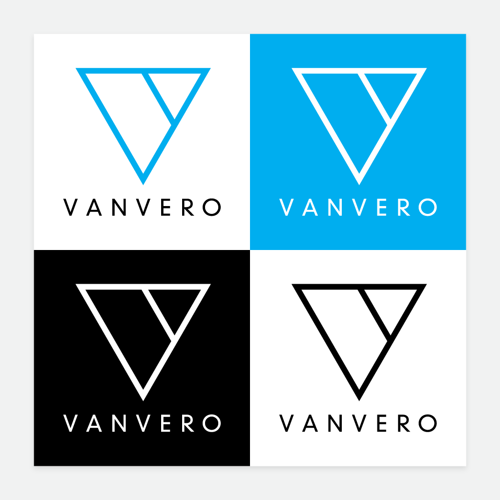 Vanvero's logo, in four different colour treatments.
