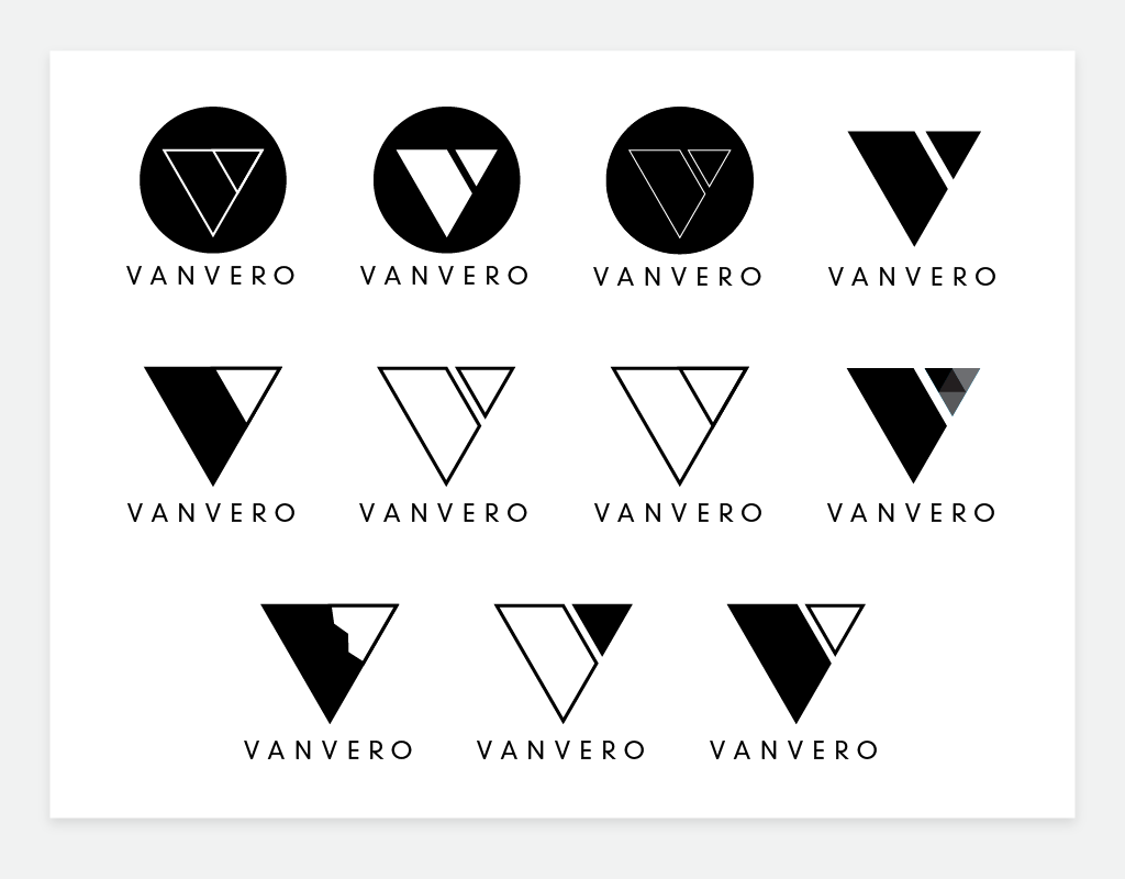Mockups of a possible Vanvero logo, riffing off of a 'double V' theme.