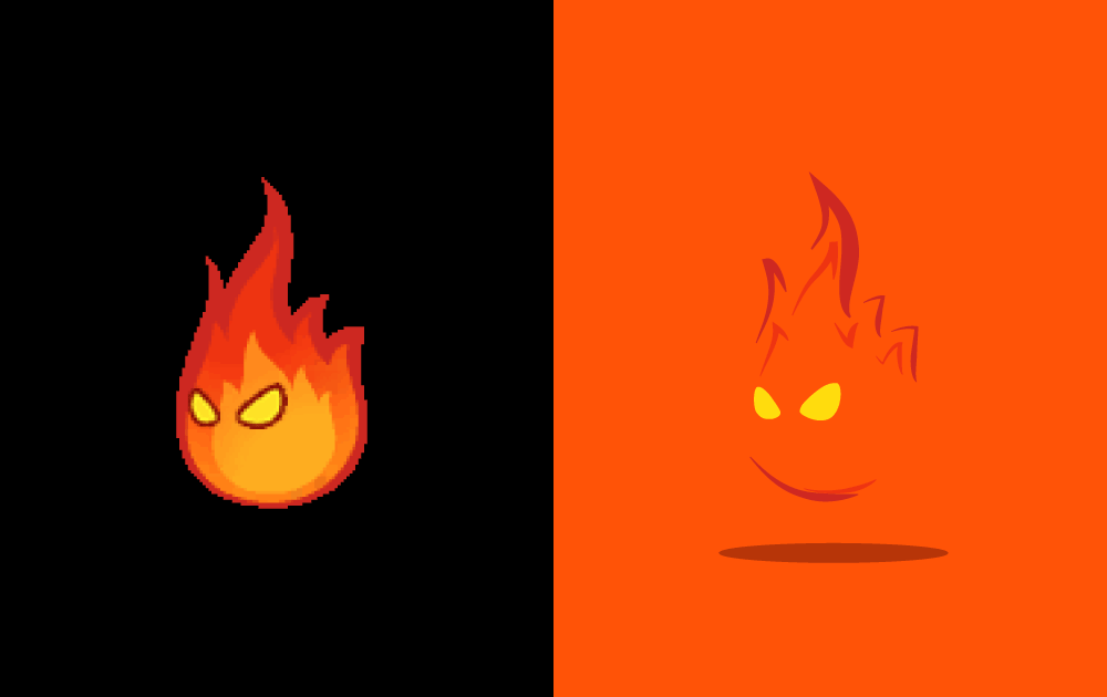 Left: the original Lava Bubble sprite. Right: the vector tracing, which uses the red background colour to imply the shape of the enemy.