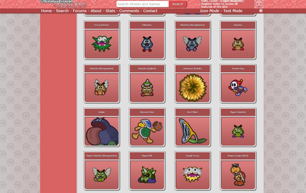 Screenshot of the Spriter's Resource page on Paper Mario sprites.