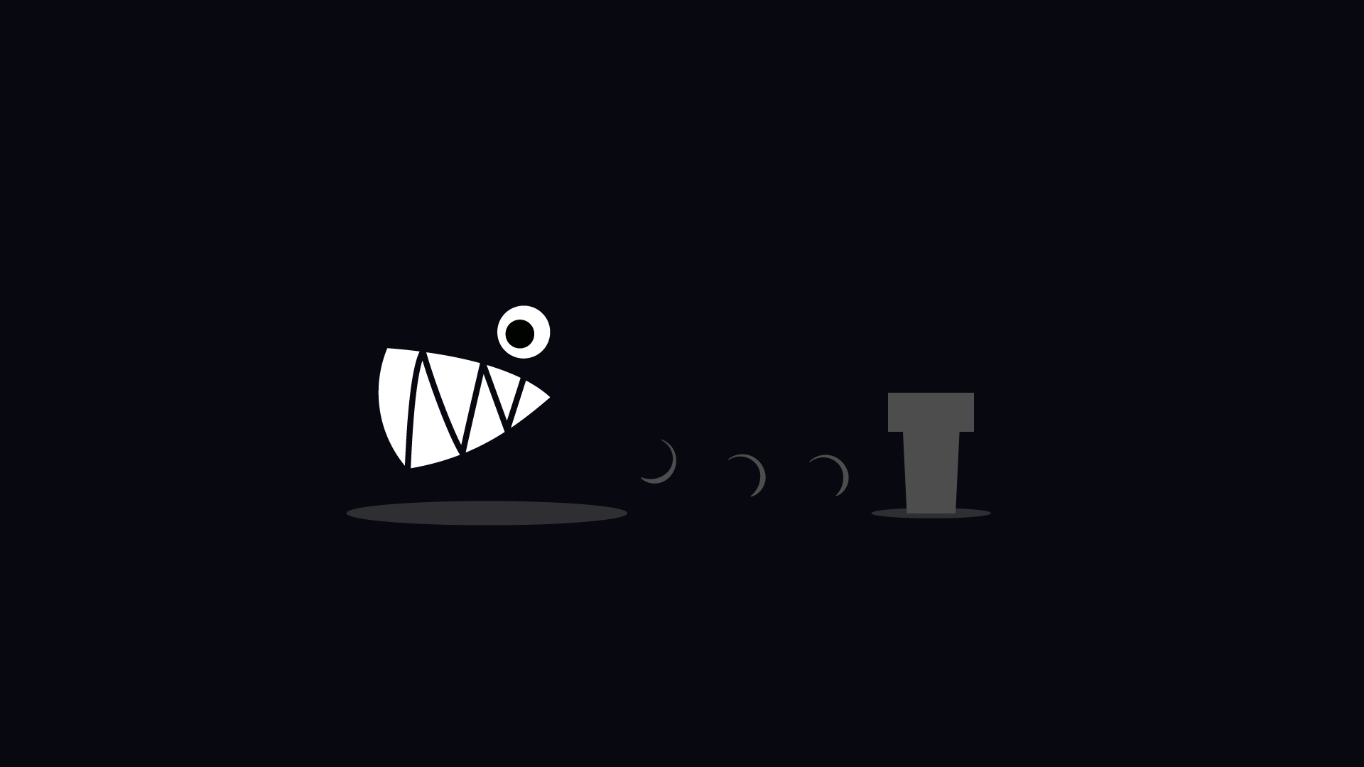 Black desktop wallpaper with a Chain Chomp tied to a post.