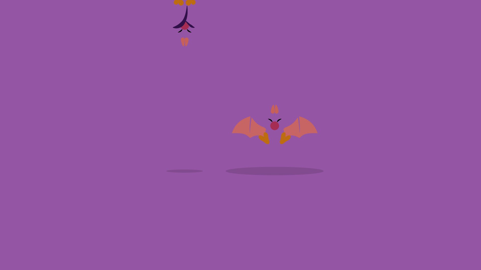 Purple desktop wallpaper with a Swooper flying in the middle and another one hanging from the ceiling.