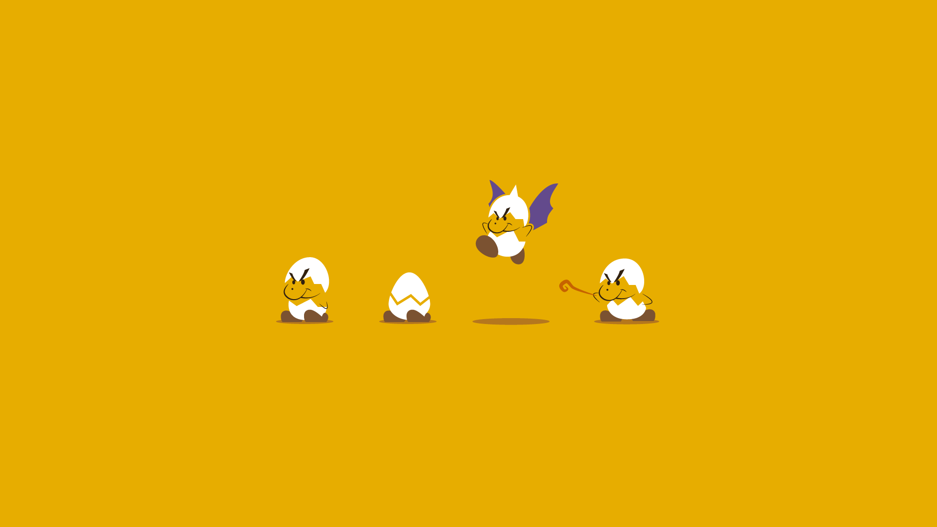 Yellow desktop wallpaper with four forms of recurring miniboss Jr. Troopa.
