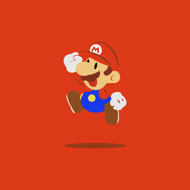 A red desktop wallpaper featuring Paper Mario.